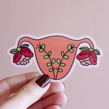 Blooming Uterus Sticker in Pink Floral