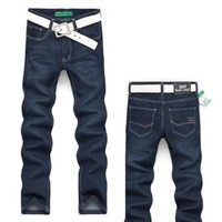 Semir Men long Jeans Trouser Straight Leg fit Leisure male denim pants-Dark Blue
