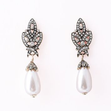 Vintage Style Silver Rhinestone & Ivory Pearl Nouveau Drop Earrings