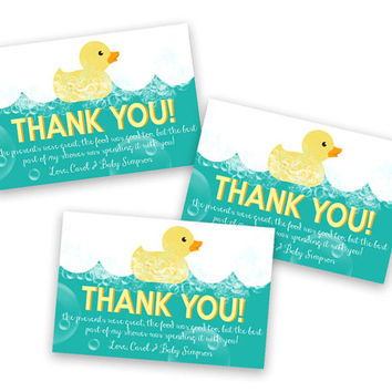Rubber Duck Thank You Cards - Rubber Duck Party Favor Tags - Rubber Ducky Baby Shower - Ducky Birthday Party - Thank You Tags Goody Bag Tie