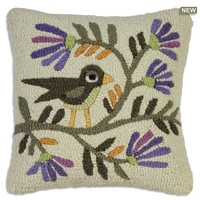 "Folk Bird Blossom Hooked Wool Pillow 18""W X 18""D"