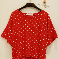 Boxy Red Polka Dot Shirt