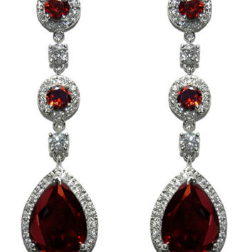 Amberly Ruby Pear Drop Halo Dangle Chandelier Earrings | Cubic Zirconia | Silver