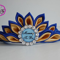 Baby shower crown , Mommy to be tiara , mommy to be corsage , Royal baby crown , baby shower boy, mommy to be sash , blue and gold tiara
