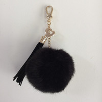 Faux Fur Pom Pom bag Keyring Hot Couture Novelty keychain pom pom ball with long 4 inch tassel