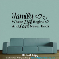 Personalized Word Art Vinyl Wall Decal Sticker Family Where Life Begins And Love Never Ends Inspirational