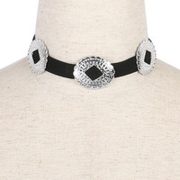 Silver Metal Buckle Choker Necklace