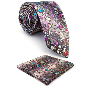 Floral Pattern Multicolor Mens Tie Necktie Set 100% Silk New Jacquard Woven Blue Fashions Mens Casual Dress Wedding  63""