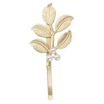 Lovely Pearl Embellishment Hair Clip Accessories Golden Leaves Hairpin for the Bride or Bridesmaids