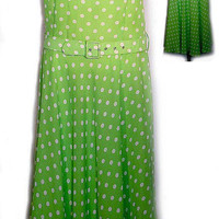1970's Sleeveless Dress in Lime Green with White Polka Dots MED/LG