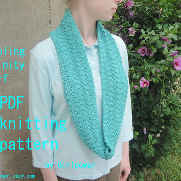 Rippling Infinity Scarf PDF Knitting Pattern, Easy Knit, Eternity Cowl Circle Loop Scarf