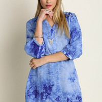 Umgee BOHO Hippie Blue Tie Dye Shirt Dress S M L