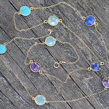 Sapphire, Purple Amethyst, Turquoise, Aqua Chalcedony Gold bezel, long gold chain station necklace - Blueish Blue Lollipop - July Birthstone