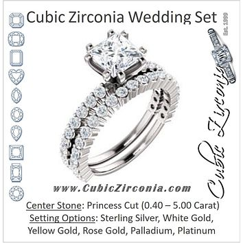 CZ Wedding Set, featuring The Thea engagement ring (Customizable 8-prong Princess Cut Design with Thin, Stackable Pavé Band)