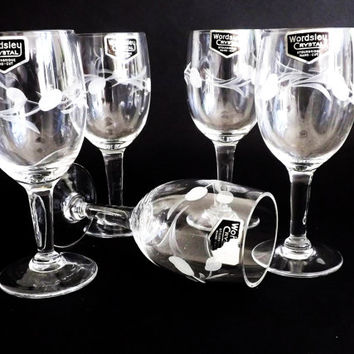 Vintage Sherry Glasses, Etched Crystal Glass Stemware, Port, Drinking Glass, Vintage Barware, Party Glasses, Glassware, Apéritif, English