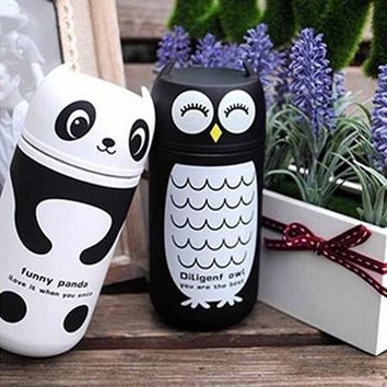 220ML Portable Cute Panda or Owl Designed Thermos with Stainless Steel Vacuum Cup