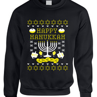 Adult Crewneck Happy Hanukkah Jewish Menorah Ugly Sweater