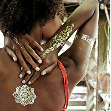Flash Tattoos Sheebani Authentic Metallic Temporary Jewelry Tattoos 4 Sheet Pack (Black/gold/silver)Includes over 19 assorted premium henna inspired waterproof tattoos