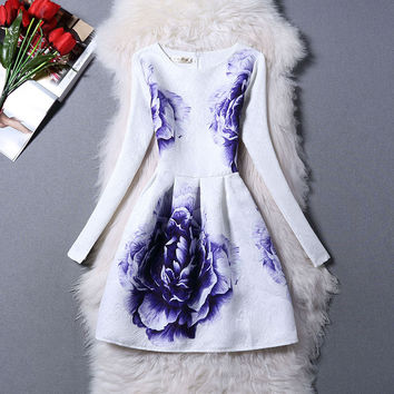 Vintage Long Sleeve Print Princess Dress One Piece Dress [4918716868]