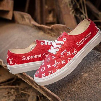 DCCK Vans x Supreme x LV Authentic Red Casual skateboard shoes