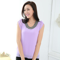 Solid Color Sequined Chiffon Blouse