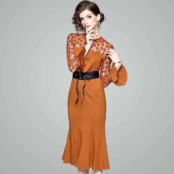 Factory Direct Round Collar Long Sleeved Bodycon Dress Perspective Fish Tail Long Mermaid Dress 80120