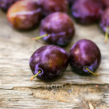 Purple Plums on wooden floor Instant Digital Download Art Photography Printable, kitchen decor, summer fruits, purple and brown home decor