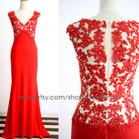 Red Evening Gown, Couture Red Jersey Lace Prom Dresses, V Neck Red Mermaid Prom Gown, Long Formal Dresses, Red Jersey Wedding party Dresses