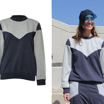 Colour - Block Pullover/ Grey jumper/ Athletic jumper/ Crewneck Sweatshirt / Tangens designs / Vegan /Cozy Sweater / Gift for Her