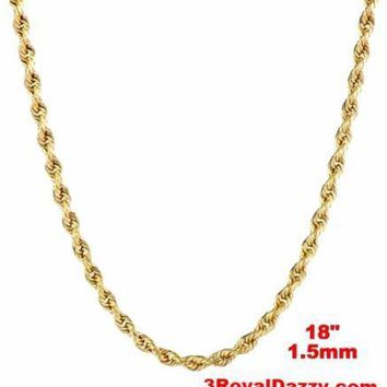 Italy 14k yellow gold layer on 925 Sterling Silver Classic Rope Chain- 1.5MM 18""