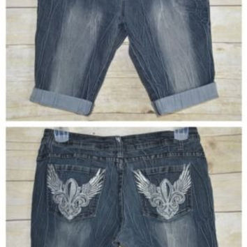 Dereon Size 13/14 Juniors Denim Cut Off Shorts Embellished