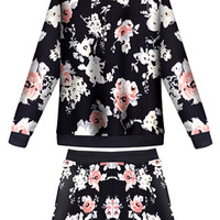 Black Floral Long Sleeve Top High Waist Shorts Set