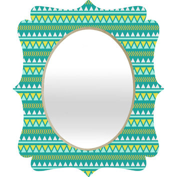 Allyson Johnson Teal And Yellow Aztec Quatrefoil Mirror