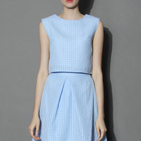 Pastel Blue Top and Skirt Set Blue