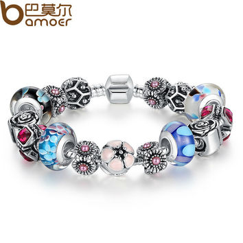 BAMOER Silver Original Flower Charm Bracelet for Women With Exquisite Glass Bead Safety Clasp Mother's Day Gifts PA1841