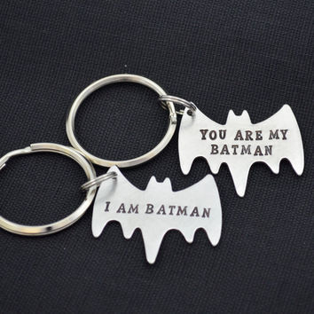 Personalized Hand-Stamped Couple Keychain Set | Batman Keychain | Best Friend Keychain Set