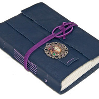 Purple Leather Journal with Steampunk Bookmark