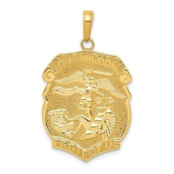 14K Yellow Gold Gold Polished Large Saint Michael Protect Us Medal Pendant
