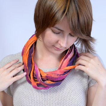 Bright orange, purple & pink multistrand necklace made of twisted felt ribbons - twist, multi strand, fiber, wool, ribbon jewelry [N95]