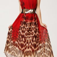 Red Leopard Print Retro Style Chiffon Maxi Dress