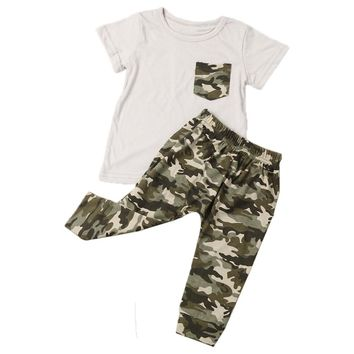 Camouflage Camo Two Piece Outfit Clothe Set For Baby Boy