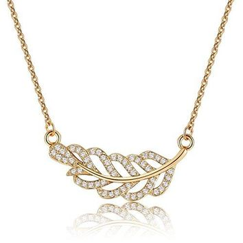 Leaf Choker Necklace With Cubic Zirconia - Simple Horizontal Leaf Branch Necklaces for Women