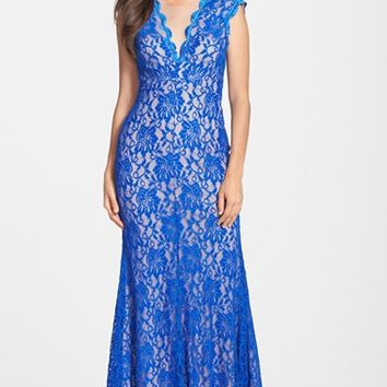Women's Xscape Illusion Neck Lace Trumpet Gown