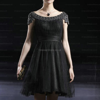 A-line Scoop Tulle Short/Mini Black Beading Party Dress  at dressestore.co.uk