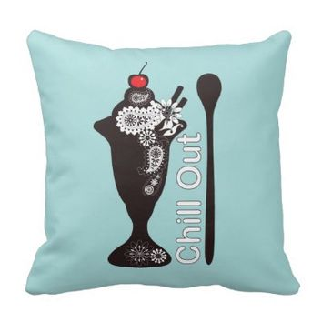 Ice Cream Sundae filled with Paisley Pattern Cute Throw Pillows: Chill Out: Retro Style Sweets Girly Design