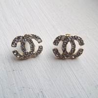 Chanel Double C Earrings - Gold & Rhinestone