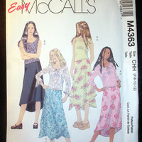 "Girl's Knit Top and Handkerchief Hem Skirt McCall's M4363 Size 7, 8, 10, 12 Bust 26, 27, 28, 30"" Easy to Sew Sewing Pattern Uncut"