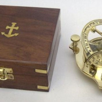 Woodland Imports Brass Sun Dial Compass In Box - Great Nautical Compass