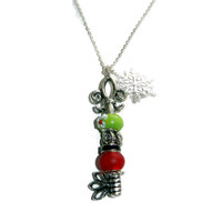 Silver Key Necklace with Red and Green Beads and Snowflake Charm, Interchangeable