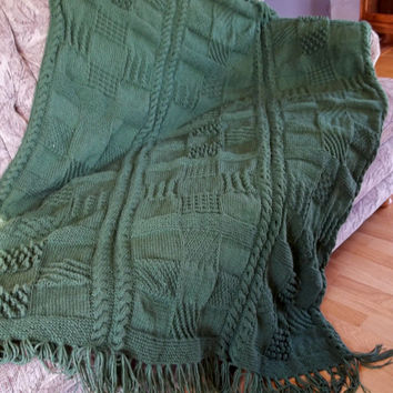 Afghan Knit in Patchwork Pattern in Med Thyme